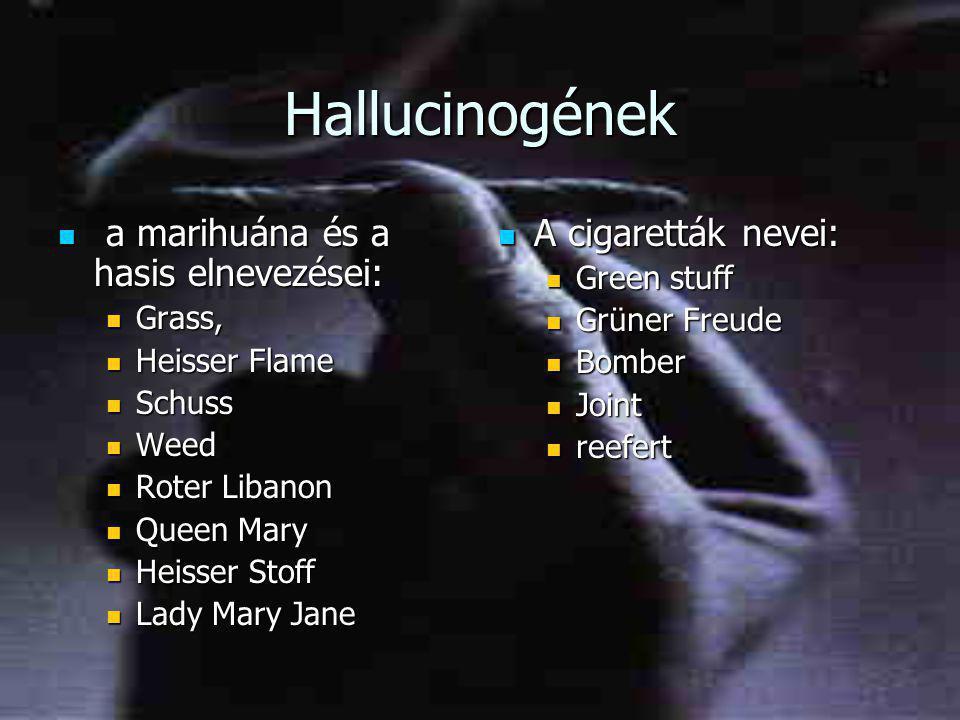 Hallucinogének a marihuána és a hasis elnevezései: A cigaretták nevei: