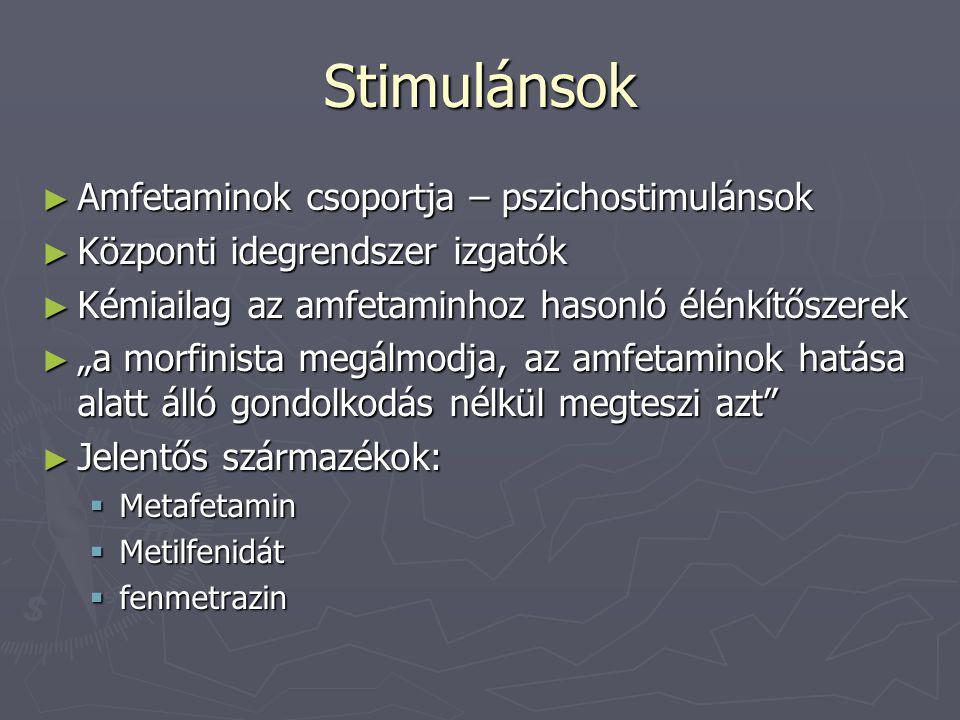 Stimulánsok Amfetaminok csoportja – pszichostimulánsok
