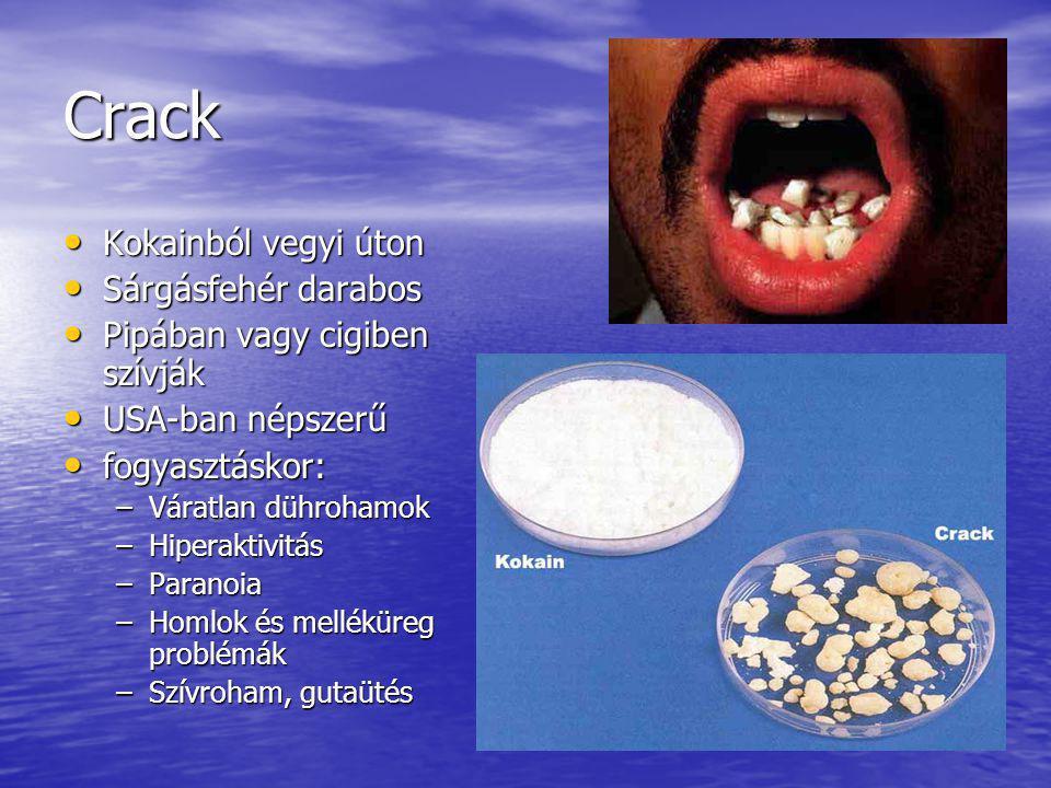 Crack Kokainból vegyi úton Sárgásfehér darabos