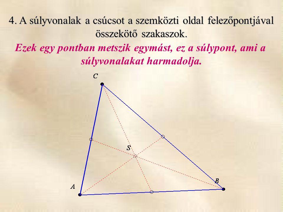 4. A súlyvonalak a csúcsot a szemközti oldal felezőpontjával