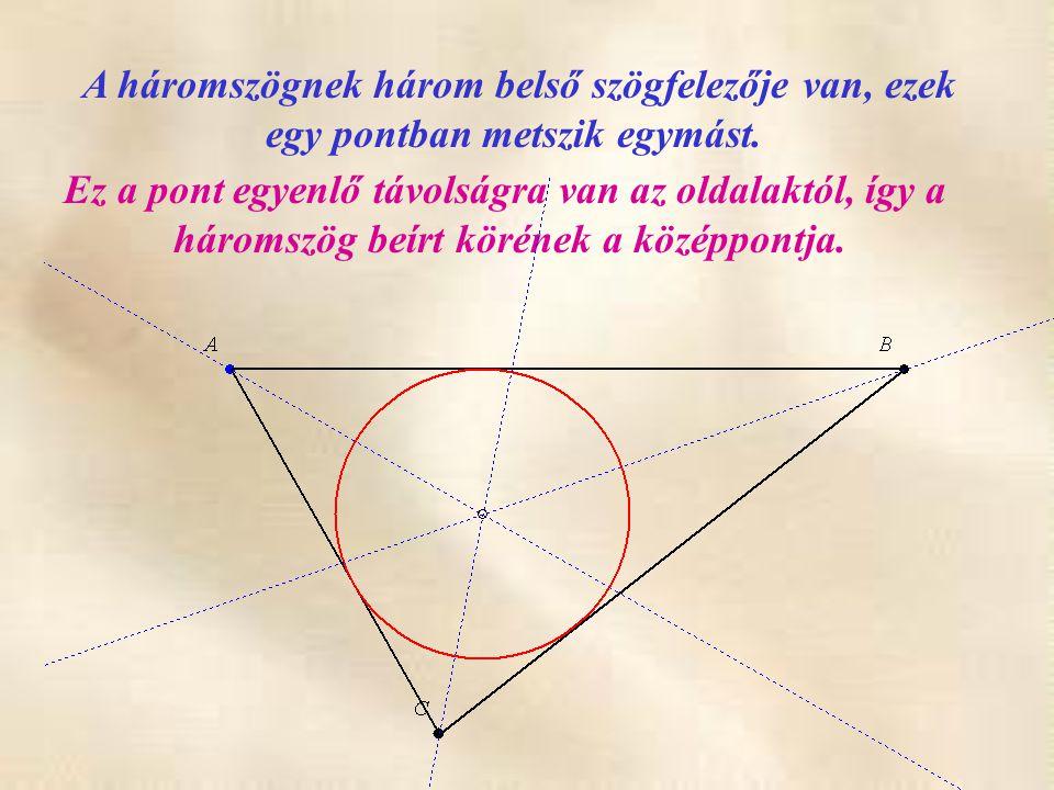 A háromszögnek három belső szögfelezője van, ezek