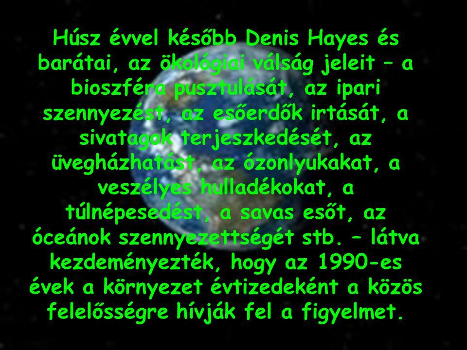 Húsz évvel később Denis Hayes és barátai, az ökológiai válság jeleit – a bioszféra pusztulását, az ipari szennyezést, az esőerdők irtását, a sivatagok terjeszkedését, az üvegházhatást, az ózonlyukakat, a veszélyes hulladékokat, a túlnépesedést, a savas esőt, az óceánok szennyezettségét stb.