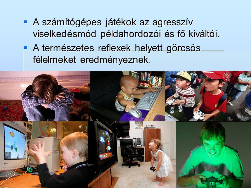 A számítógépes játékok az agresszív viselkedésmód példahordozói és fő kiváltói.