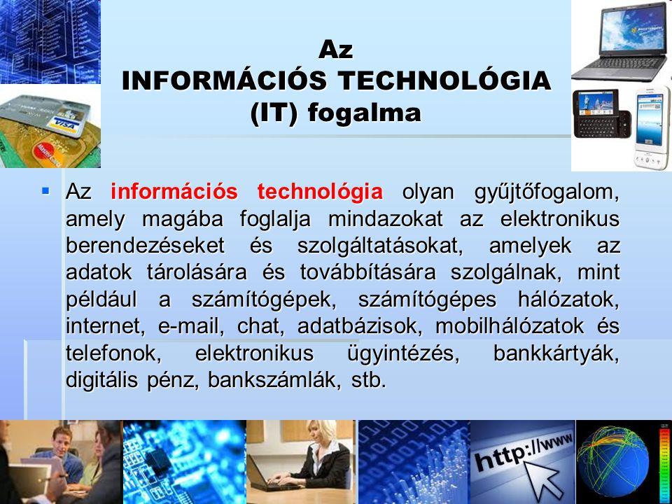 Az INFORMÁCIÓS TECHNOLÓGIA (IT) fogalma