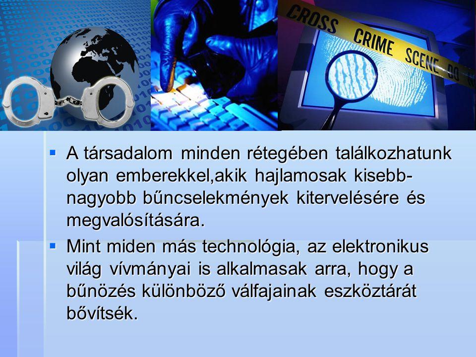 A társadalom minden rétegében találkozhatunk olyan emberekkel,akik hajlamosak kisebb-nagyobb bűncselekmények kitervelésére és megvalósítására.