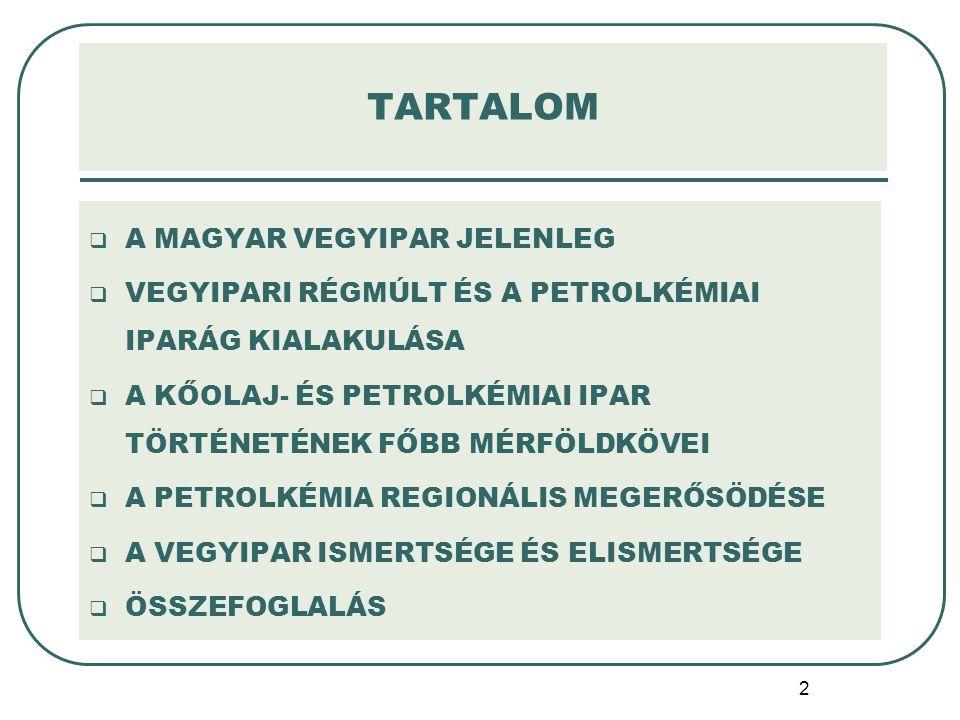 TARTALOM A MAGYAR VEGYIPAR JELENLEG