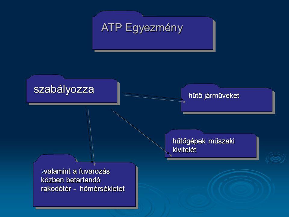 ATP Egyezmény szabályozza hűtő járműveket hűtőgépek műszaki kivitelét