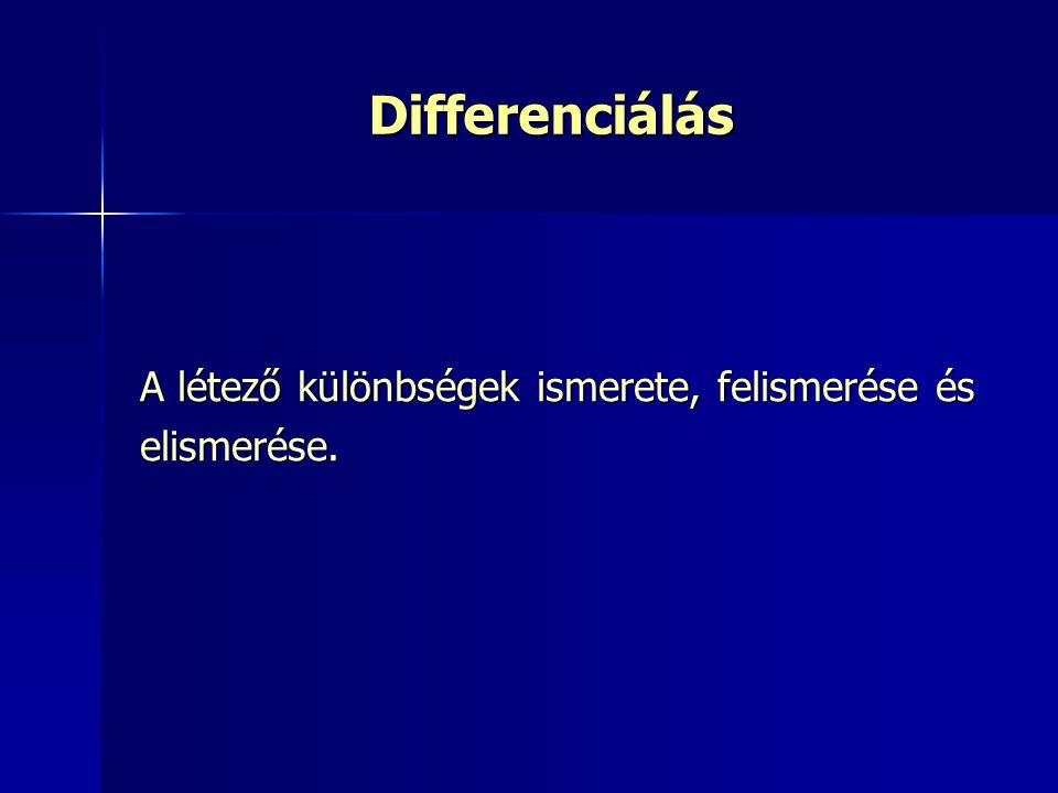 Differenciálás A létező különbségek ismerete, felismerése és