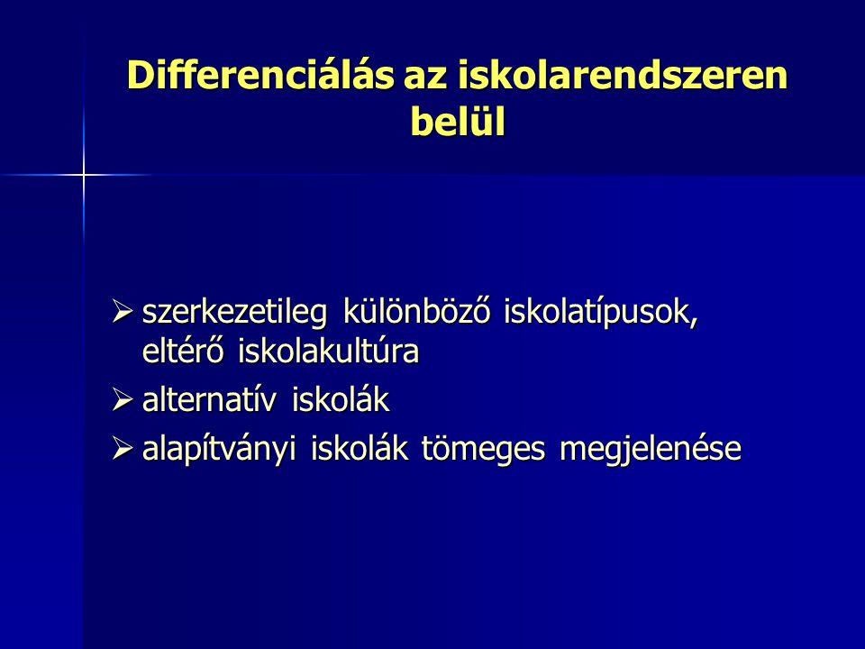 Differenciálás az iskolarendszeren belül