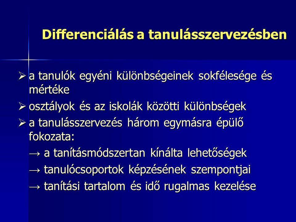 Differenciálás a tanulásszervezésben