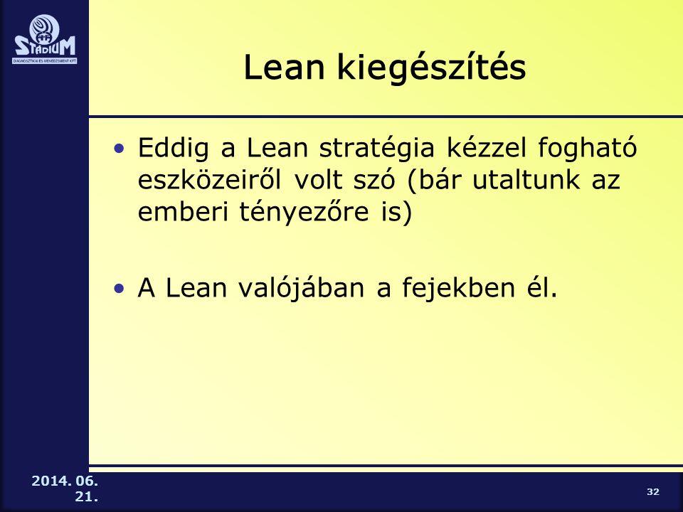 Lean kiegészítés Eddig a Lean stratégia kézzel fogható eszközeiről volt szó (bár utaltunk az emberi tényezőre is)