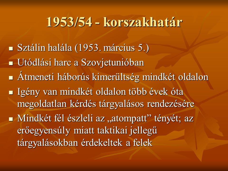 1953/54 - korszakhatár Sztálin halála (1953. március 5.)