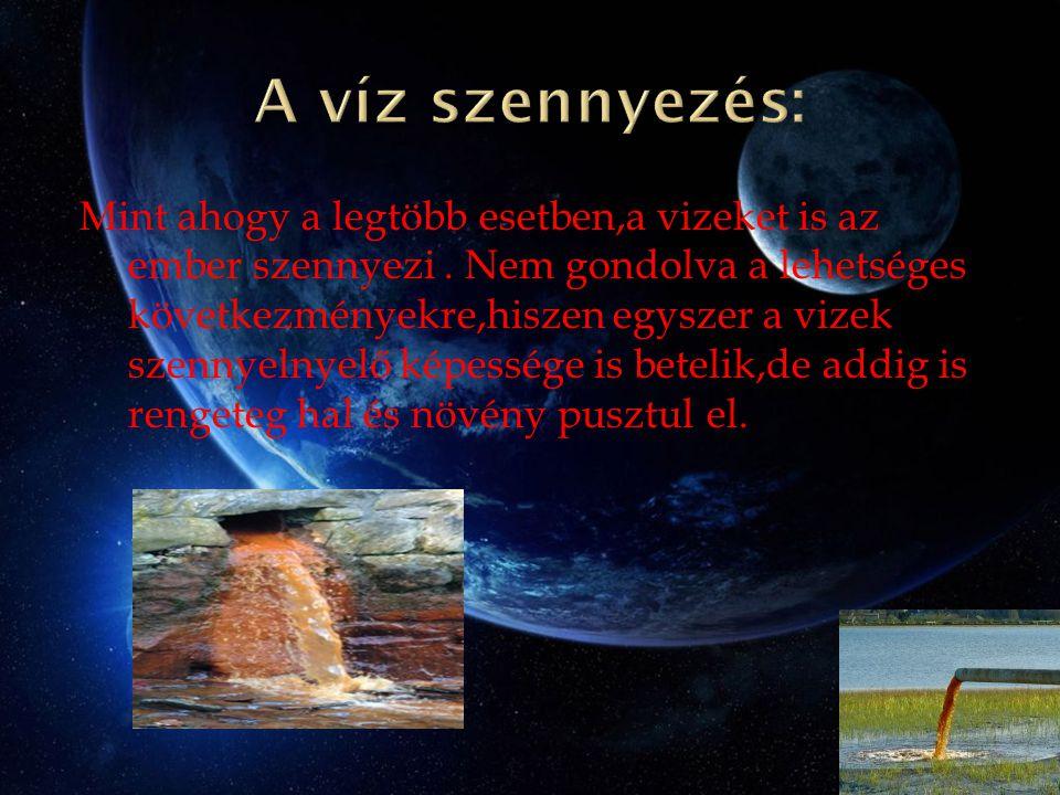 A víz szennyezés: