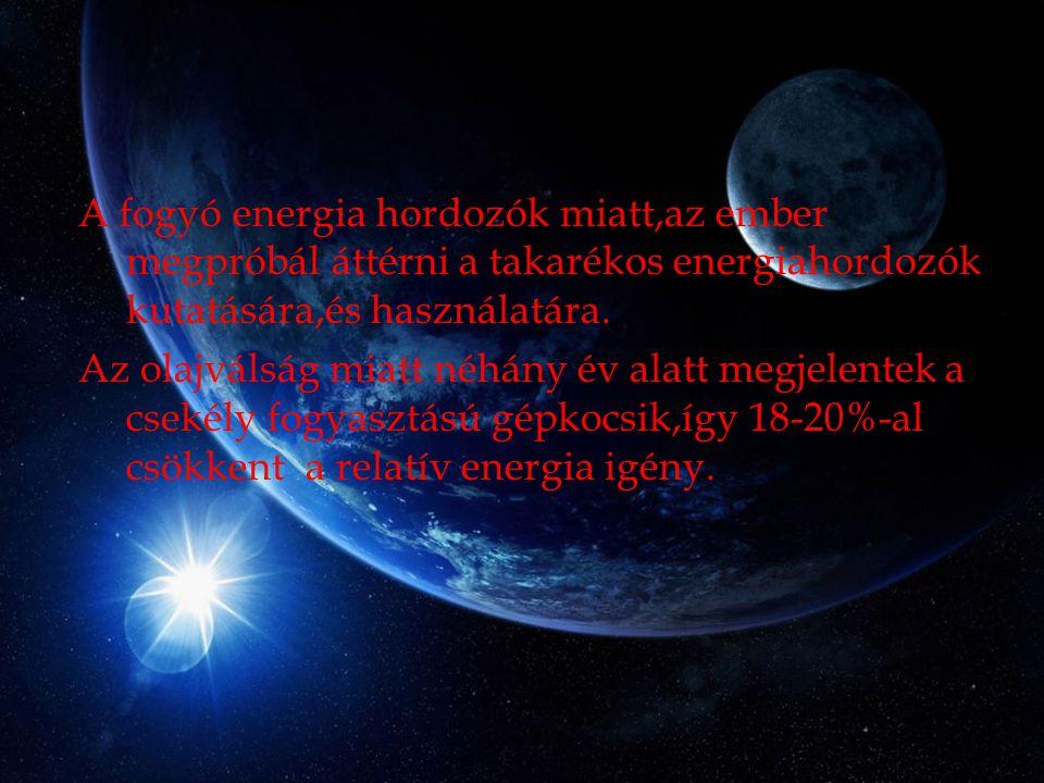 A fogyó energia hordozók miatt,az ember megpróbál áttérni a takarékos energiahordozók kutatására,és használatára.