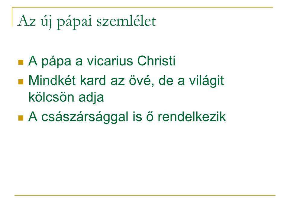 Az új pápai szemlélet A pápa a vicarius Christi