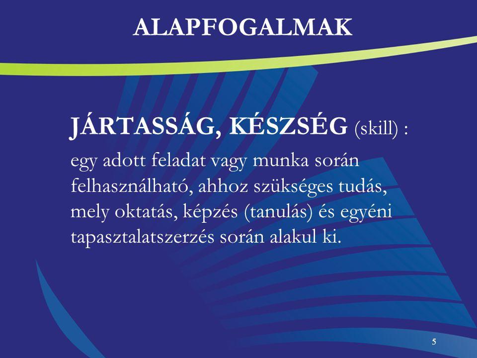 ALAPFOGALMAK JÁRTASSÁG, KÉSZSÉG (skill) :