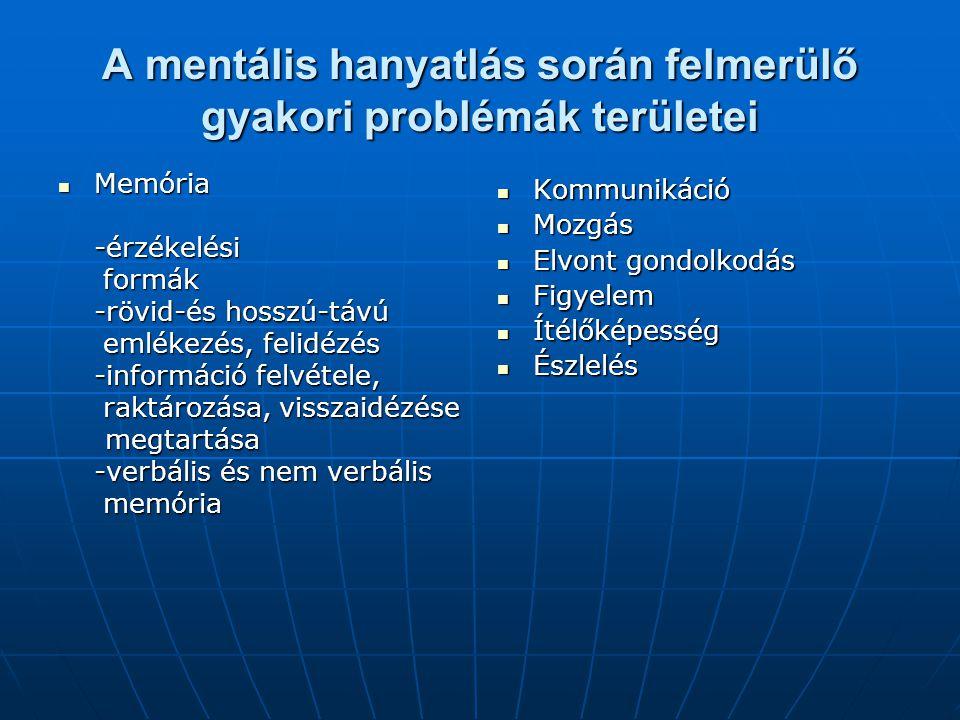 A mentális hanyatlás során felmerülő gyakori problémák területei