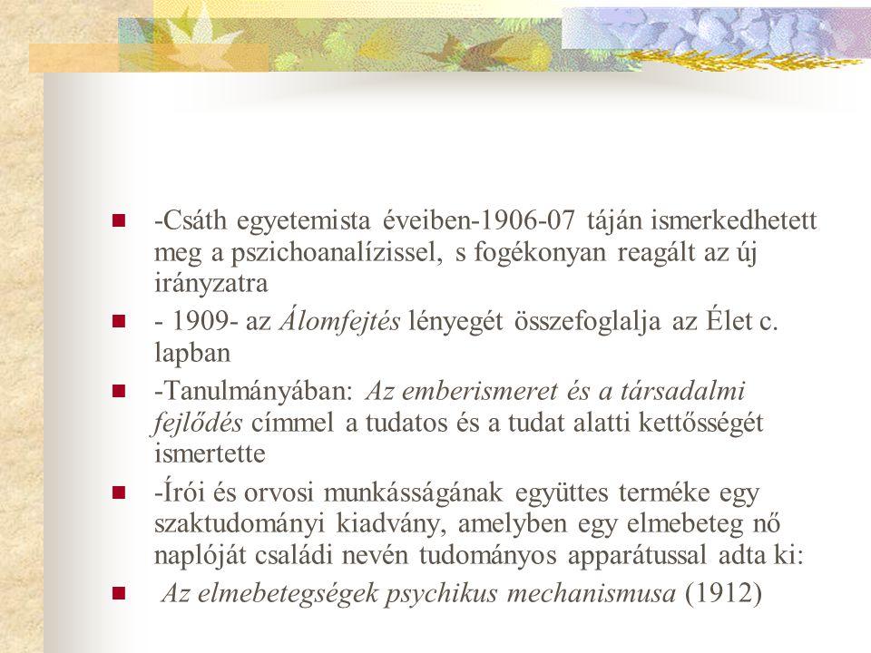-Csáth egyetemista éveiben-1906-07 táján ismerkedhetett meg a pszichoanalízissel, s fogékonyan reagált az új irányzatra