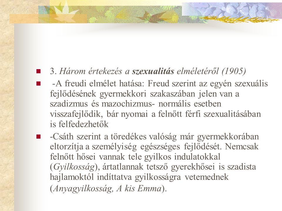 3. Három értekezés a szexualitás elméletéről (1905)