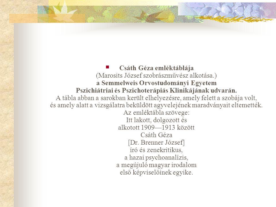 Csáth Géza emléktáblája (Marosits József szobrászművész alkotása