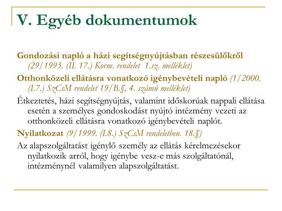 V. Egyéb dokumentumok Gondozási napló a házi segítségnyújtásban részesülőkről (29/1993. (II. 17.) Korm. rendelet 1.sz. melléklet)