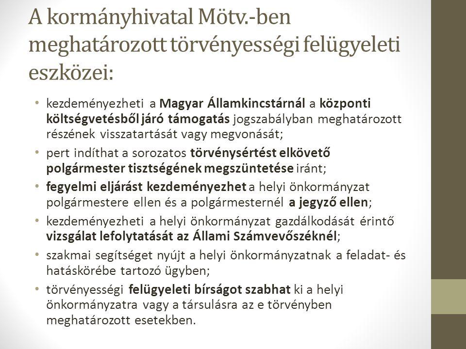 A kormányhivatal Mötv.-ben meghatározott törvényességi felügyeleti eszközei: