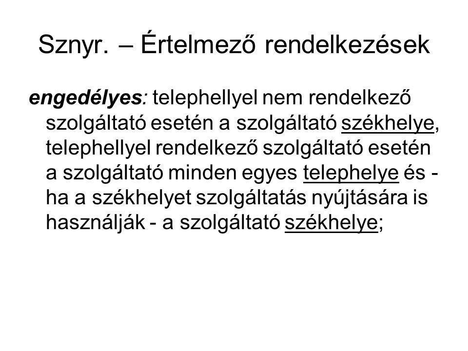 Sznyr. – Értelmező rendelkezések