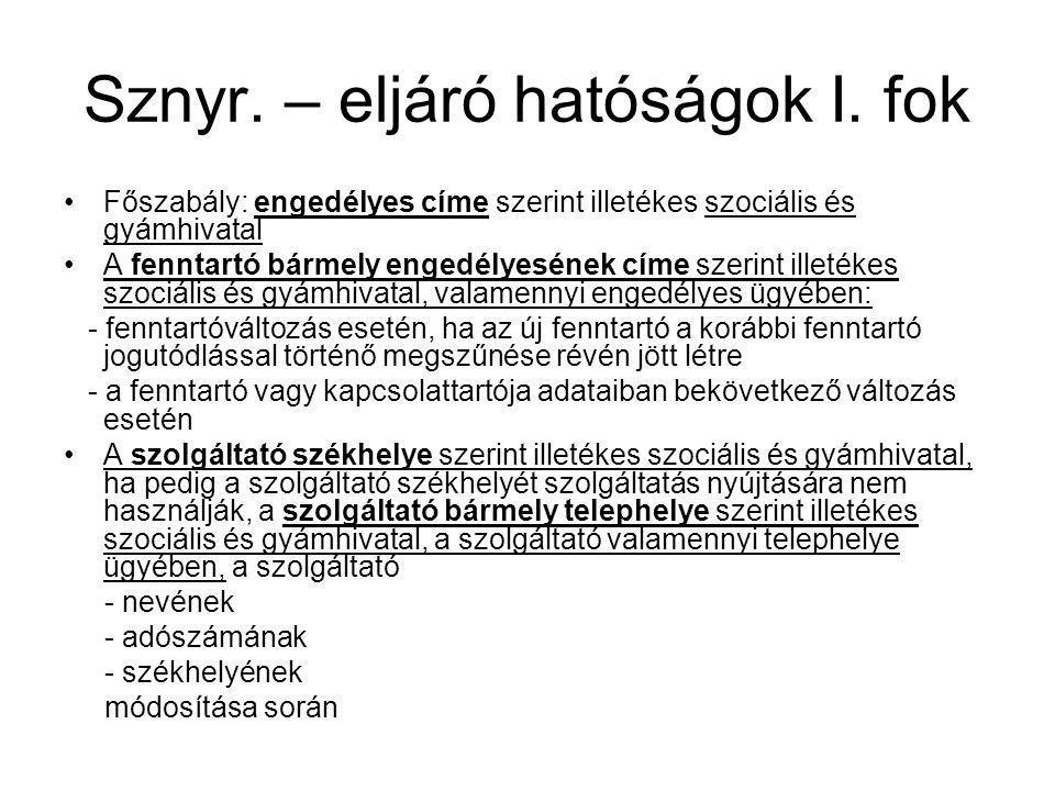 Sznyr. – eljáró hatóságok I. fok
