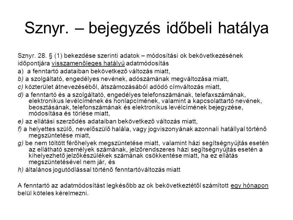 Sznyr. – bejegyzés időbeli hatálya