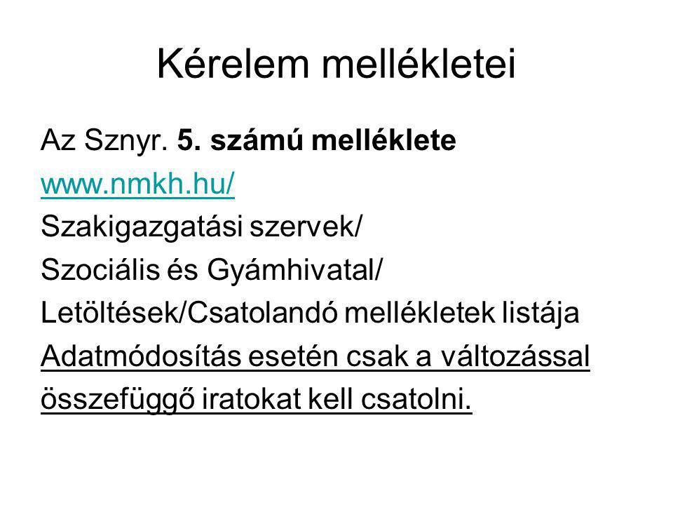 Kérelem mellékletei Az Sznyr. 5. számú melléklete www.nmkh.hu/