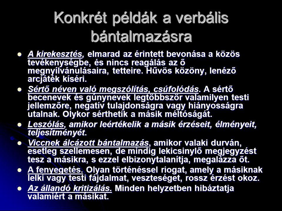 Konkrét példák a verbális bántalmazásra
