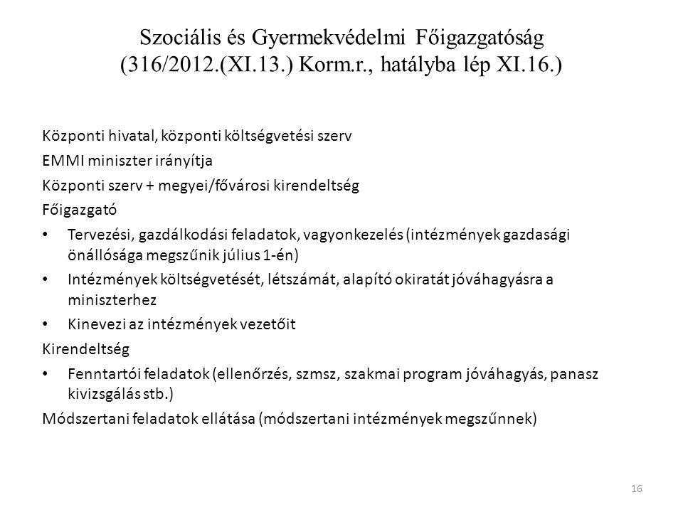 Szociális és Gyermekvédelmi Főigazgatóság (316/2012.(XI.13.) Korm.r., hatályba lép XI.16.)