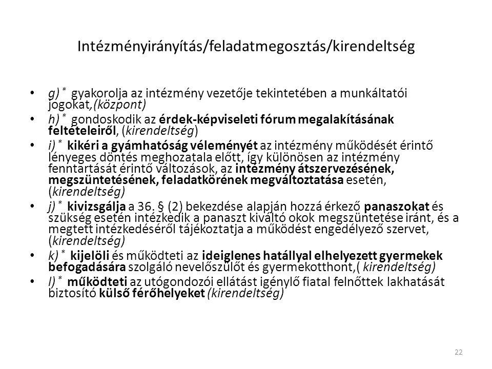 Intézményirányítás/feladatmegosztás/kirendeltség