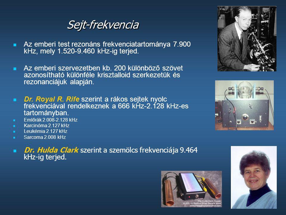 Sejt-frekvencia Az emberi test rezonáns frekvenciatartománya 7.900 kHz, mely 1.520-9.460 kHz-ig terjed.