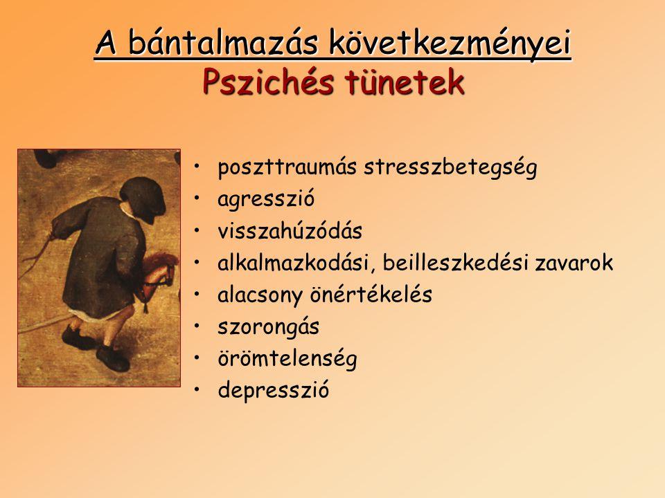 A bántalmazás következményei Pszichés tünetek