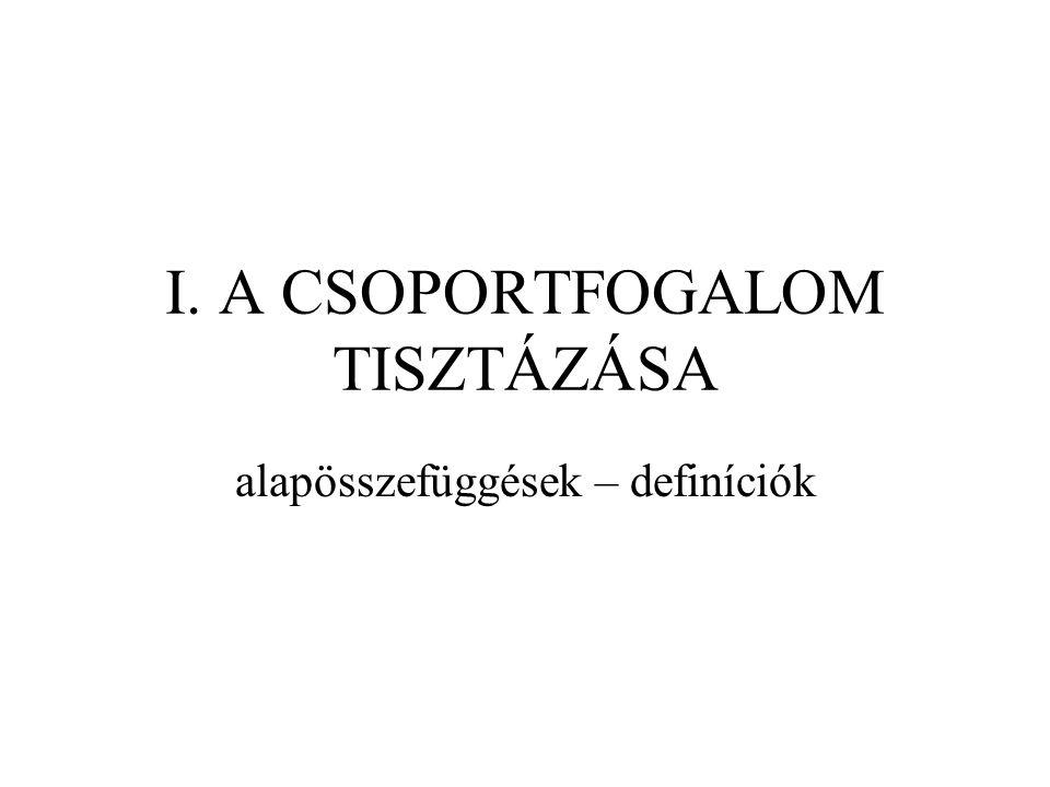 I. A CSOPORTFOGALOM TISZTÁZÁSA