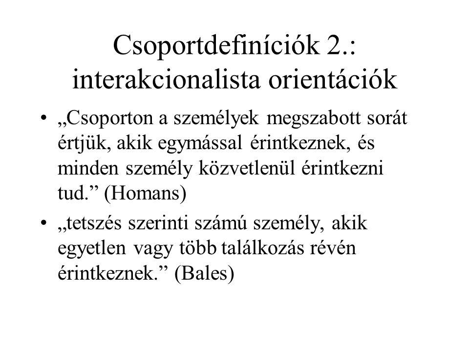 Csoportdefiníciók 2.: interakcionalista orientációk