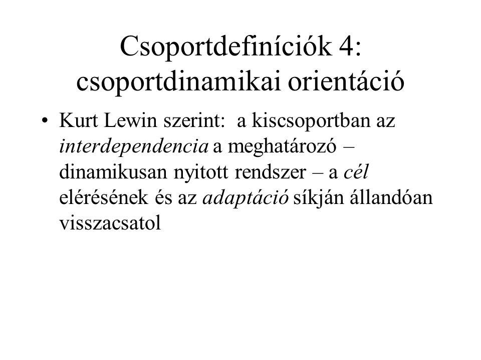 Csoportdefiníciók 4: csoportdinamikai orientáció