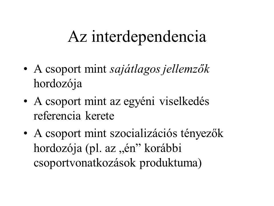 Az interdependencia A csoport mint sajátlagos jellemzők hordozója