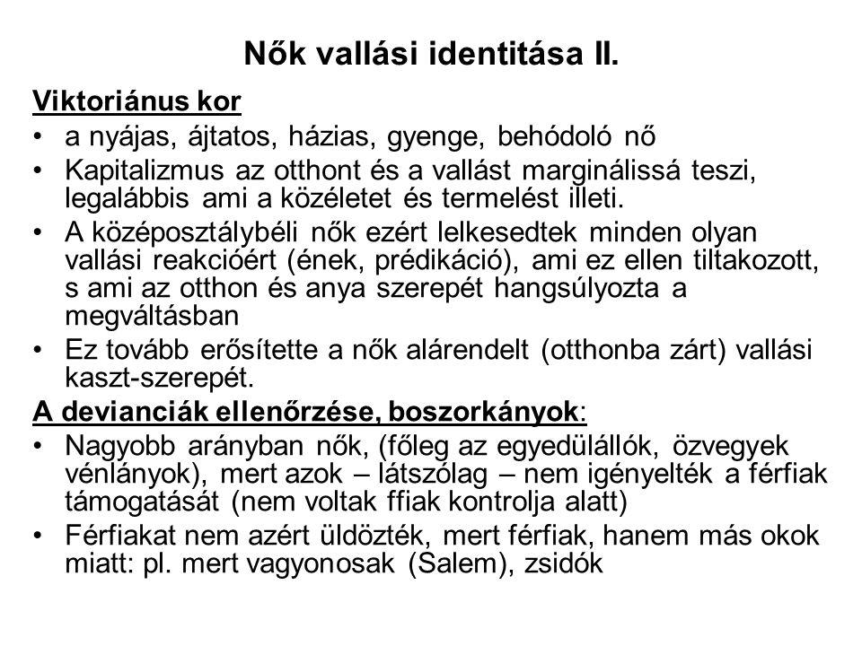 Nők vallási identitása II.