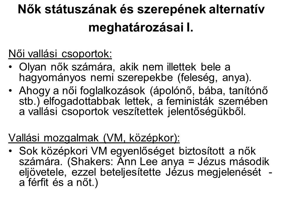 Nők státuszának és szerepének alternatív meghatározásai I.