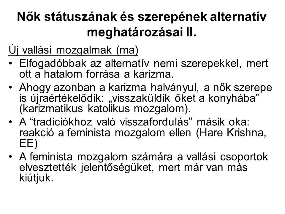Nők státuszának és szerepének alternatív meghatározásai II.