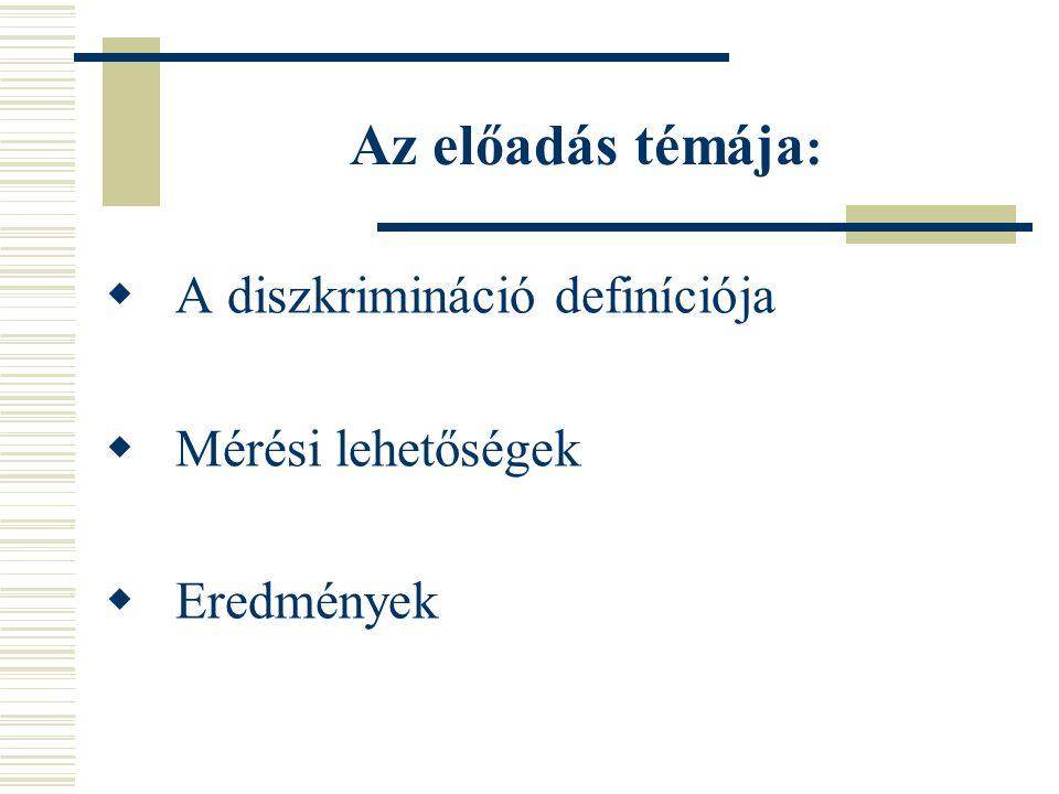 Az előadás témája: A diszkrimináció definíciója Mérési lehetőségek