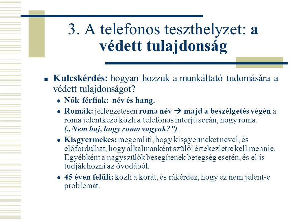 3. A telefonos teszthelyzet: a védett tulajdonság