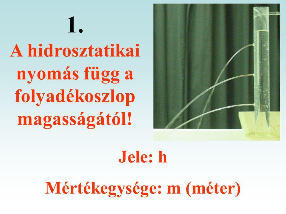 1. A hidrosztatikai nyomás függ a folyadékoszlop magasságától!