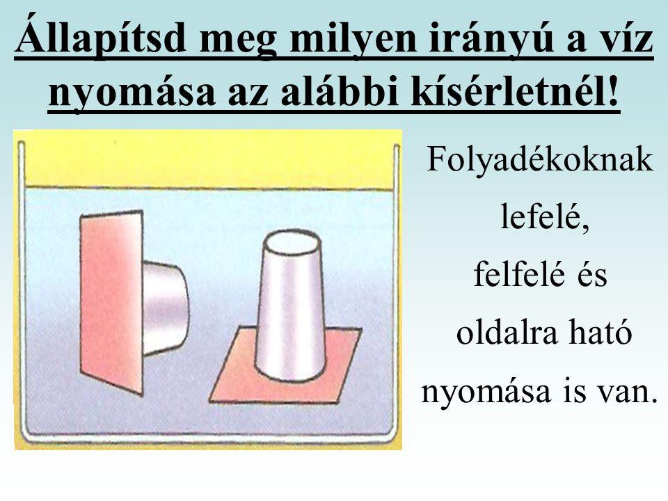 Állapítsd meg milyen irányú a víz nyomása az alábbi kísérletnél!