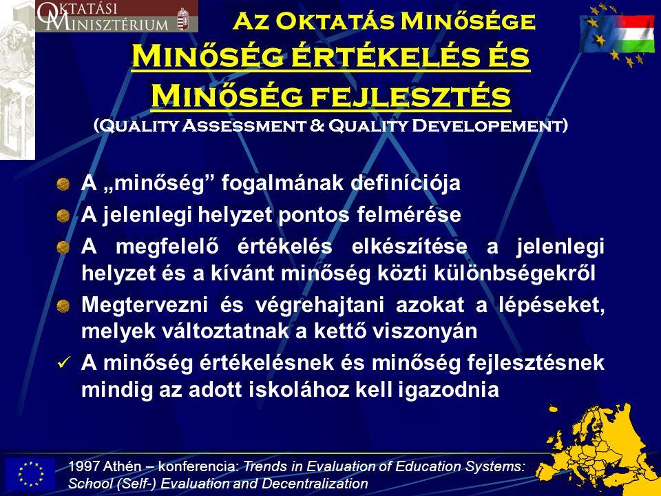 Az Oktatás Minősége Minőség értékelés és Minőség fejlesztés (Quality Assessment & Quality Developement)