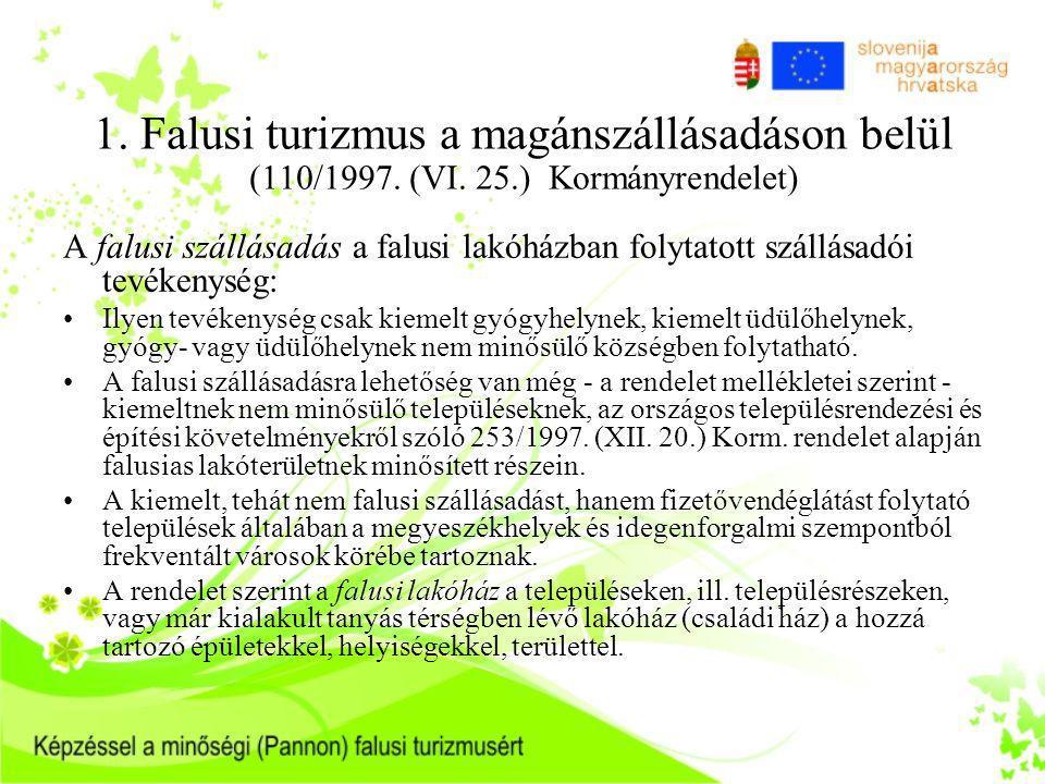 1. Falusi turizmus a magánszállásadáson belül (110/1997. (VI. 25