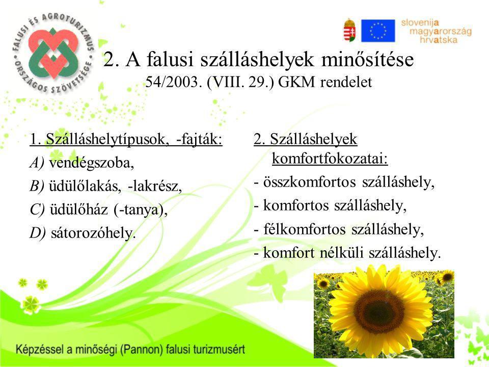 2. A falusi szálláshelyek minősítése 54/2003. (VIII. 29.) GKM rendelet