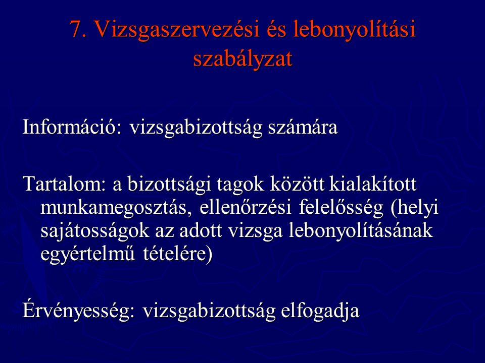 7. Vizsgaszervezési és lebonyolítási szabályzat